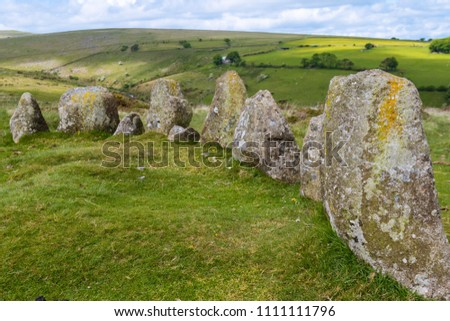 The 9 Maidens Standing Stone Circle in Dartmoor National Park
