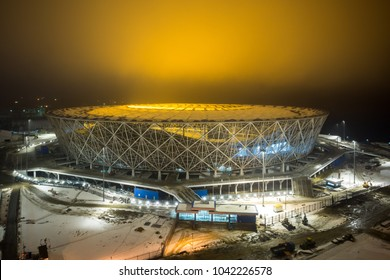9 March, 2018. Volgograd, Russia. Night illumination of the construction field of the new football stadium Volgograd Arena, building for the FIFA World Cup 2018