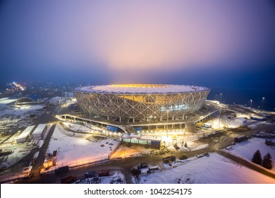 "9 March, 2018. Volgograd, Russia. Night illumination of the construction field of the new football stadium ""Volgograd Arena"", building for the FIFA World Cup 2018"