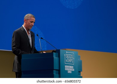 9 May, 2017, Milan, Italy. Former US President Barack Obama delivers a speech on Climate Change and Food Policy, at the Seeds and Chips conference.