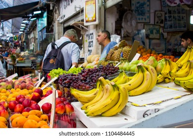 9 May 2018 Fresh fruit on display at a vendor's stall at the Mahane Yehuda covered street market in Jerusalem Israel