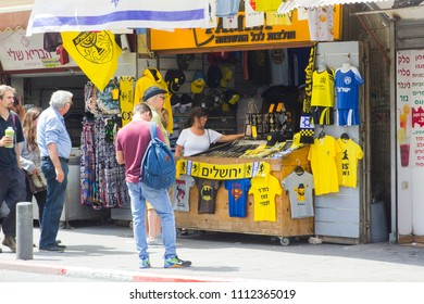 9 May 2018 A small stall selling Israeli league football team strips at the entrance to the Mahane Yehuda covered market market  in Jerusalem Israel