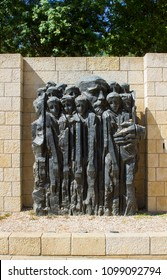 9 May 2018 A stone sculpture depicting child victims of the Holocaust at the Yad Vashem Holocaust Museum and Memorial in Jerusalem Israel