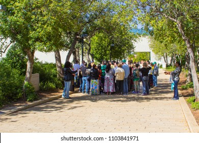 9 May 2018 Visitors on a tour of the Avenue of The Righteous at the Yad Vashem holocaust memorial in the city of Jerusalem ISRAEL