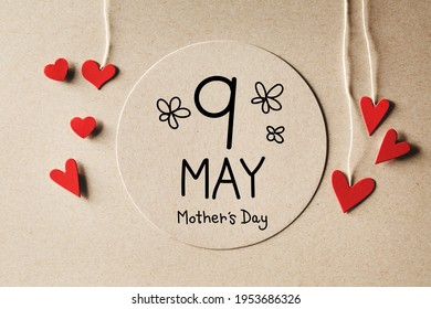 9 May Mothers Day message with handmade small paper hearts