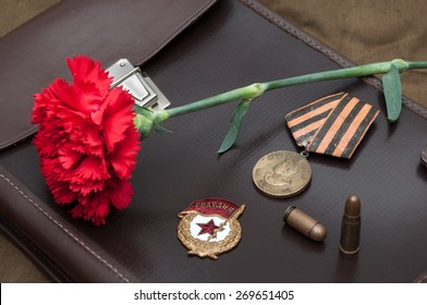 9 May. Still life with vintage objects dedicated to Victory Day.