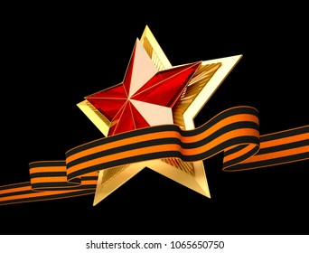 9 May. Victory Day. Red star and ribbon of Saint George 3d. Isolated background