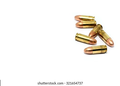 9 mm. bullet for a gun isolated on white background.