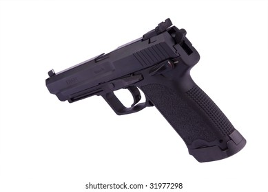 9 mm pistol isolated on white