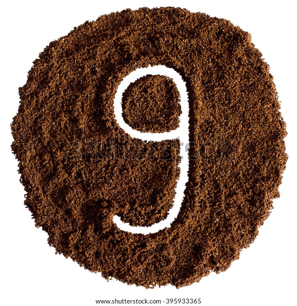 9, Number From Ground Coffee On a White Background