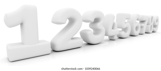 9 Numbers in 3D isolated over a white.