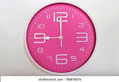 9 o' clock on white background.