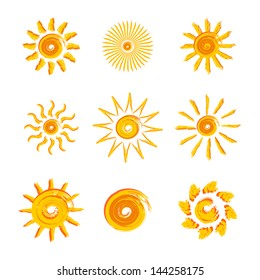 9 painted  yellow suns