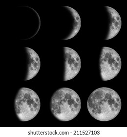 9 phases of the moon, lunar on dark night sky, black space, black background - from new to full