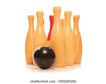 9 pin skittles on white background