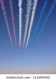 9 planes in the sky of UAE painting the flag of France. This picture was taken in the airshow in Al Ain Dec, 2013