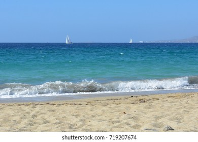 9 September 2017 The beautiful blue Aegean Sea in Naxos, Greece