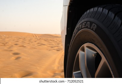 9 SEPTEMBER 2017, Dubai UAE - Goodyear new tyre on SUV in desert ready for dune bashing