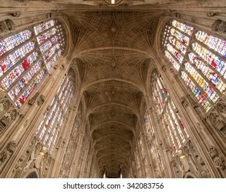 90 degree view of the interior of the chapel of King's College, Cambridge, UK