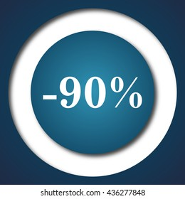 90 percent discount icon. Internet button on white background.