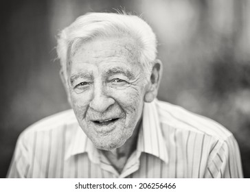 90 year old elder senior man black and white portrait