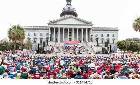 9000+ people showed up for the Pro-Family Rally held at the S.C. Statehouse on 8/29/15 held by presidential hopefuls Ted Cruz and Rick Perry