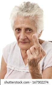 90's Elderly showing middle finger