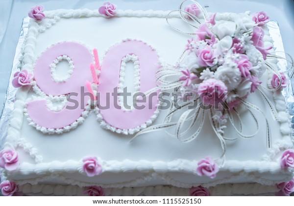 Sensational 90Th Birthday Cake Stock Photo Edit Now 1115525150 Funny Birthday Cards Online Elaedamsfinfo