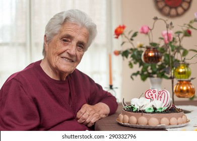 90th years old candles and cake in birthday party for the grandma