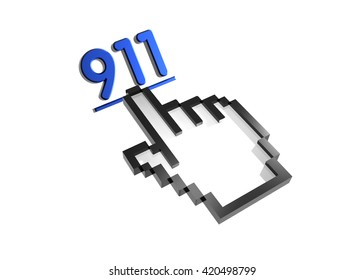 911. 3d rendered inscription. Link and finger, pointer. Isolated on white