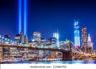 911 Commemoration Lights over Manhattan