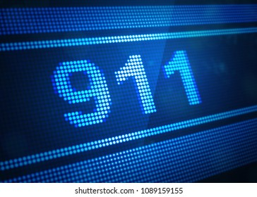 911 digital screen 3d illustration