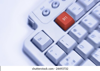 911 emergency help keyboard concept