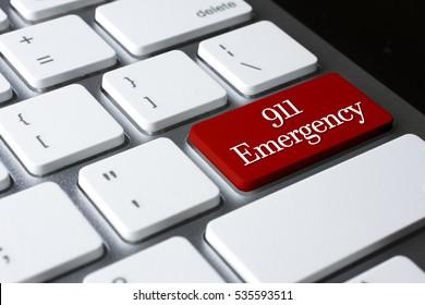 911 Emergency on white keyboard