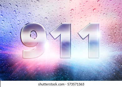911 emergency scene with rain background and police lights, 911 lettering graphic