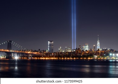 9/11 Memorial Lights and New York City Skyline from Williamsburg, Brooklyn