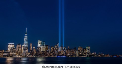9/11 memorial nyc skyline from NJ