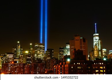 9/11 Tribute in Light and the New York City's Lower Manhattan Downtown Skyline to commemorate the Memory of September 11, 2001. Manhattan, New York, USA September 11, 2015.