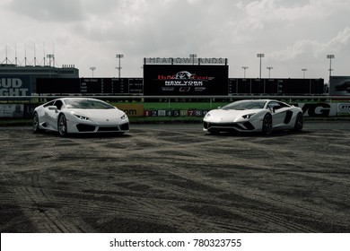 9/17/17 - Paramus,NJ - At the Bullfest drive hosted by Drive Force Club, the Lamborghini line up sits on the dirt track. On the left is the Huracan and on the right is the Aventador.