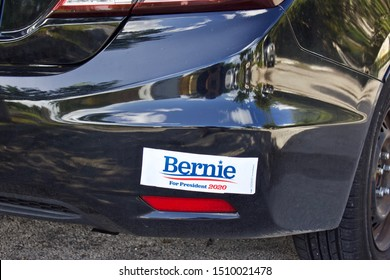 9/19/2019 West Palm Beach, FL-Bernie for President 2020, also - Paid for by Bernie 2020 (not the Billionaires). Blue and red type on white bumper sticker,