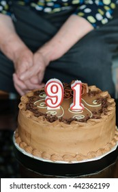 91th years old candles and cake in birthday party for the grandma
