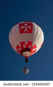 9.28.2018.York,North Yorkshire,United Kingdom.Two hot air balloons ascending at Knavesmire,England,UK.