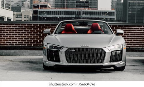 9/29/17 - New York, NY - The front end of the 2017 Audi R8 spyder.