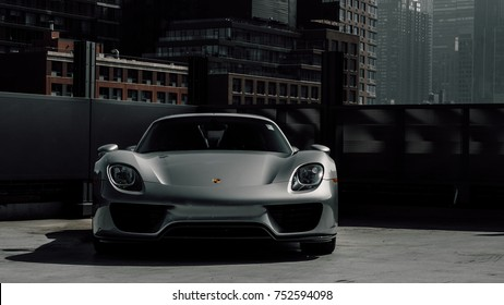 9/29/17 - New York, NY - releasing in 2013 Porsche unveiled its hybrid hypercar the 918. Only 918 were produced. Front end