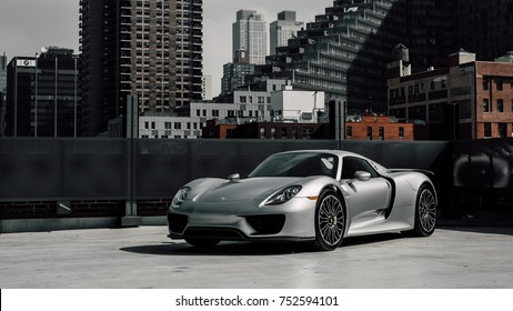 9/29/17 - New York, NY - releasing in 2013 Porsche unveiled its hybrid hypercar the 918. Only 918 were produced. Side angle
