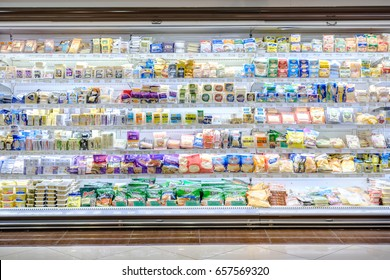 9/6/17 A refrigerator shelf selling dairy products made from milk(Cheese) in the supermarket at Katong Market Place, 112 Katong, Singapore