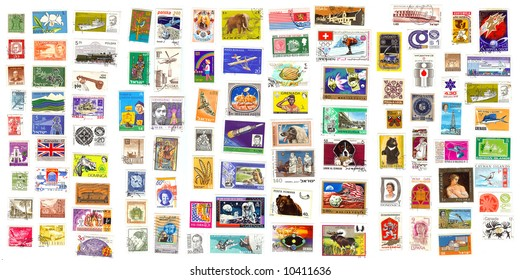 98 international stamps from all over the world