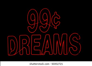 99 cent dreams in red neon