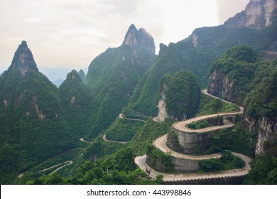 99 curve of  Moutain,Beautiful Mountain in China,The winding road of Tianmen mountain national park, Hunan province,zhangjiajie  The Heaven Gate of Tianmen Shan,mountain in china