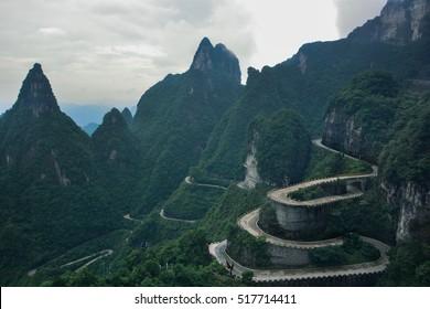 99 curve of  Moutain,Beautiful Mountain in China,The winding road of Tianmen mountain national park, Hunan province,zhangjiajie  The Heaven Gate of Tianmen Shan,mountain in china